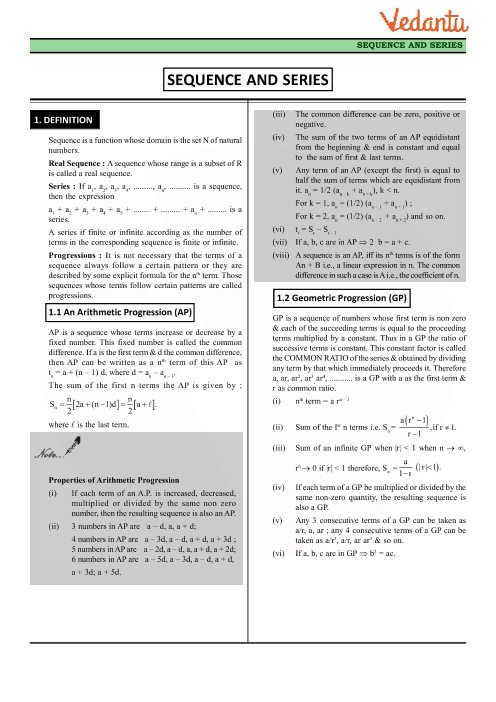 Class 11 Maths Revision Notes for Chapter-9 Sequences and Series