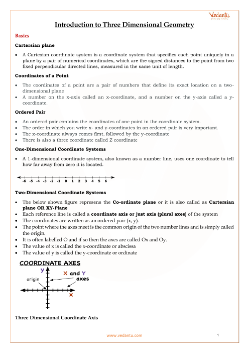 Chapter 12 - Introduction to Three Dimensional Geometry Revision Notes part-1