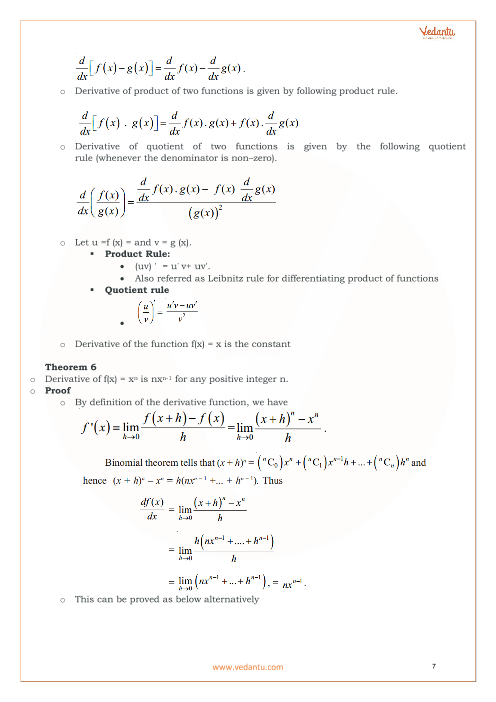 Class 11 Maths Revision Notes for Limits and Derivatives of Chapter 13