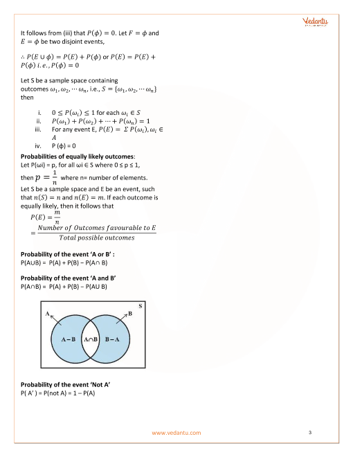 Class 11 Maths Revision Notes for Probability of Chapter 16