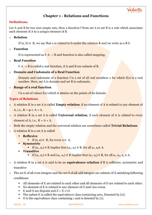 Class 12 Maths Revision Notes for Relations and Functionsof