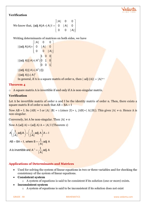 Class 12 Maths Revision Notes for Determinants of Chapter 4
