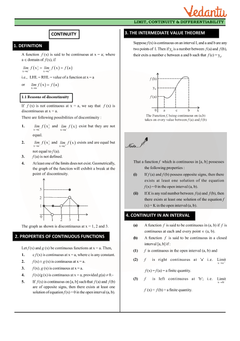 Class 12 Maths Revision Notes for Continuity and Differentiability