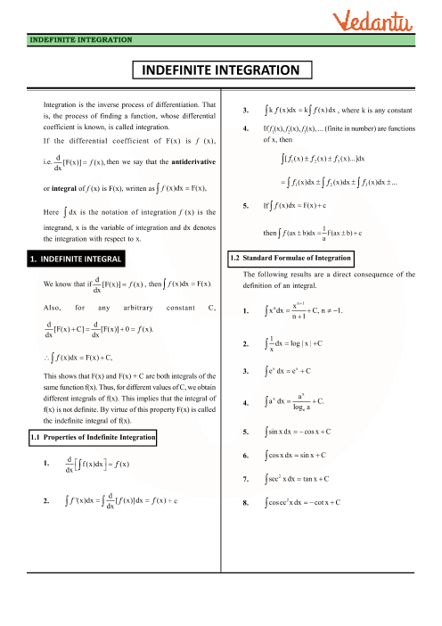 Class 12 Maths Revision Notes for Integrals of Chapter 7