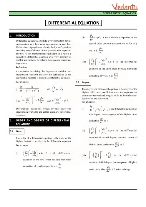 Class 12 Maths Revision Notes for Differential Equations of Chapter 9