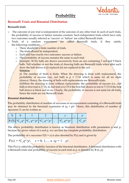 Class 12 Maths Revision Notes for Probability of Chapter 13
