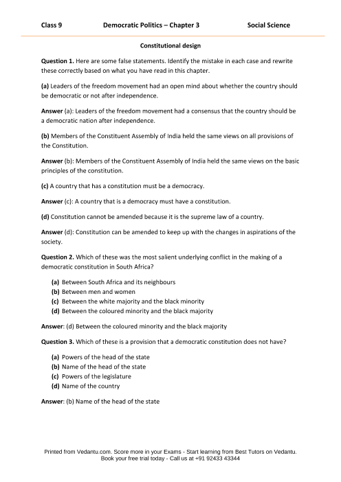 NCERT Solutions for Class 9 Social Science Democratic
