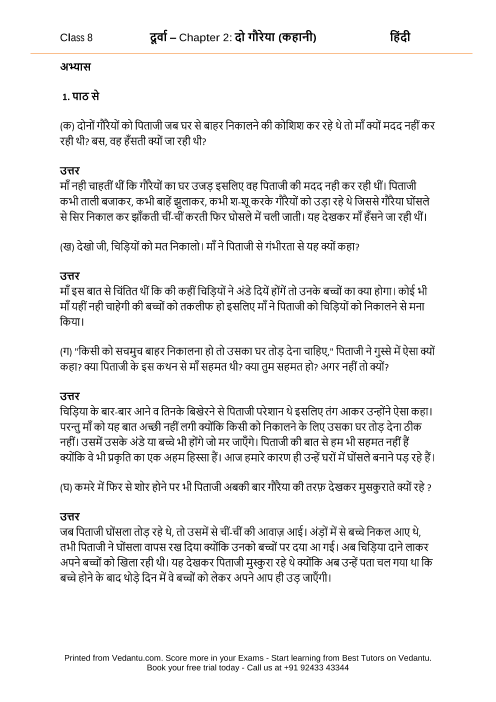 NCERT Solutions for Class 8 Hindi Durva Chapter 2 - Do Goraya