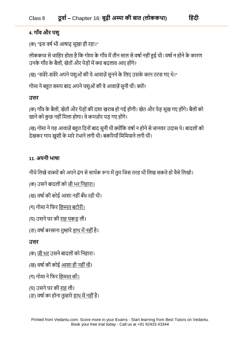 NCERT Solutions for Class 8 Hindi Durva Chapter 16 - Budi