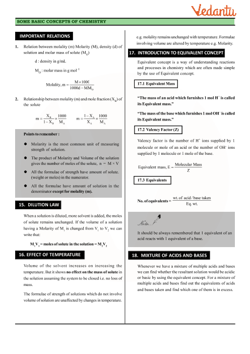 Class 11 Chemistry Revision Notes for Chapter 1 - Some Basic