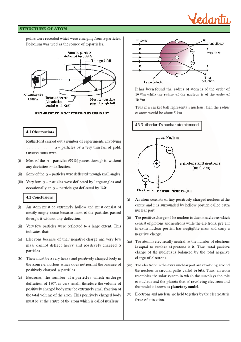 Class 11 Chemistry Revision Notes for Chapter 2 - Structure of Atom