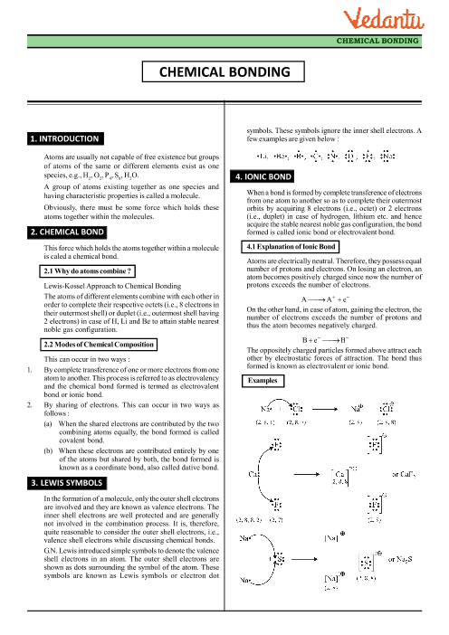 Class 11 Chemistry Revision Notes for Chapter 4 - Chemical