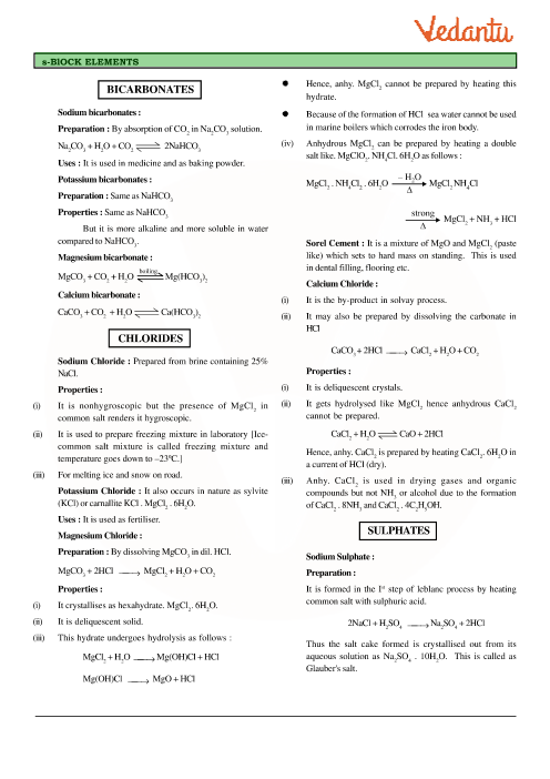 Class 11 Chemistry Revision Notes for Chapter 10 - The s-Block Elements