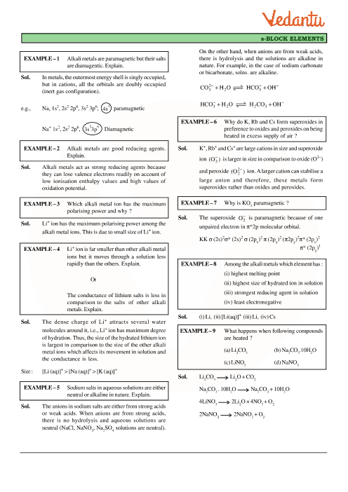 Class 11 Chemistry Revision Notes for Chapter 10 - The s
