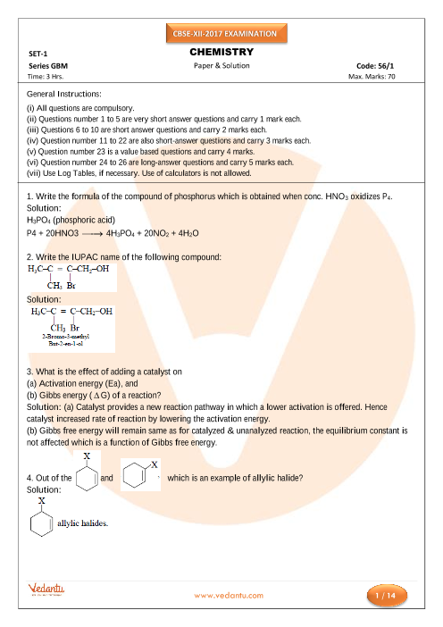 CBSE Sample Papers For Class 11 Chemistry (Solved ...