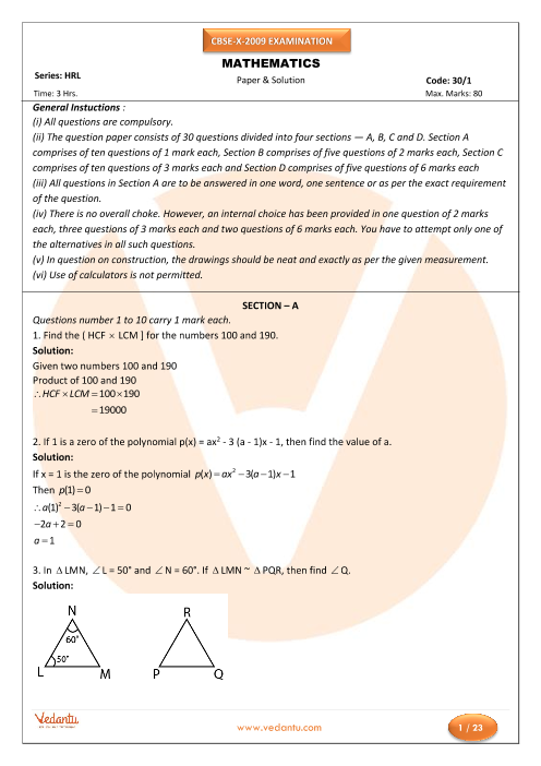 CBSE Class 10 Maths Previous Year Question Paper 2009 part-1