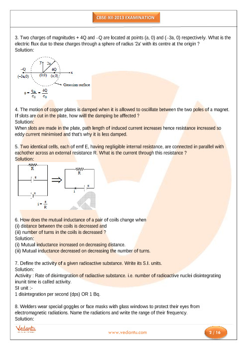 Previous Year Physics Question Paper for CBSE Class 12 - 2013