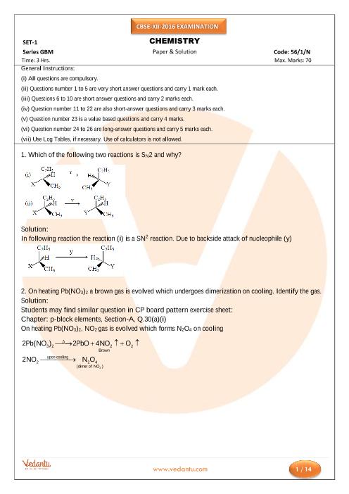 CBSE Class 12 Board Question Paper Chemistry-Set-1-N-2016 part-1