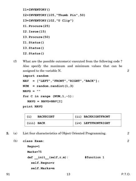 Previous Year Computer Science Question Paper for CBSE Class