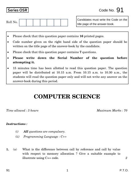 CBSE Class 12 Computer Science Question Paper-2014 part-1