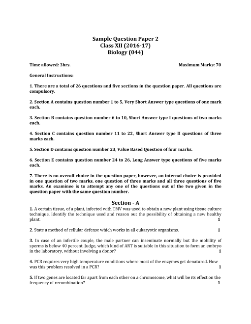 CBSE Sample Question Paper for Class 12 Biology - Mock Paper-2