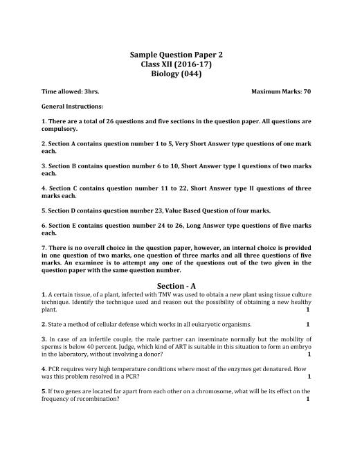 CBSE Class 12 Biology Sample Paper 2016-17 part-1