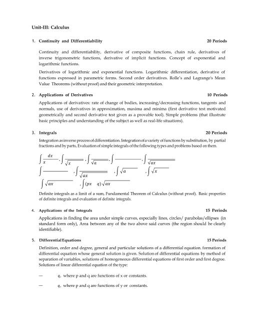 CBSE Syllabus for Class 12 Maths 2018- 2019 Board Exam