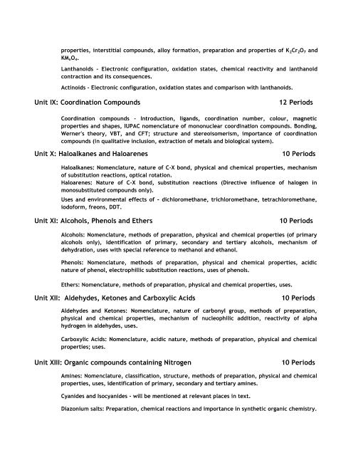 CBSE Syllabus for Class 12 Chemistry 2018-2019 Board Exam