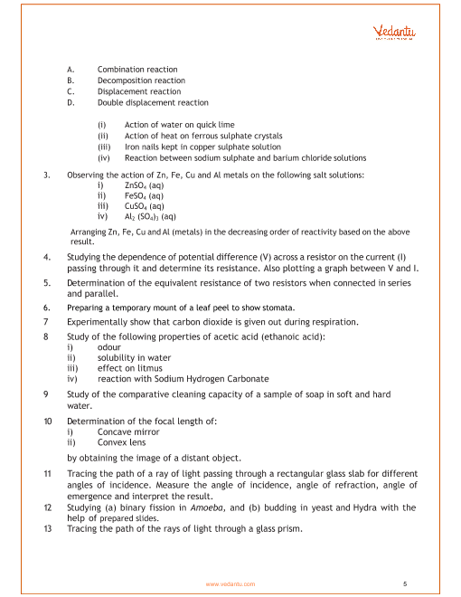 CBSE Syllabus for Class 10 Science 2018-2019 Board Exam