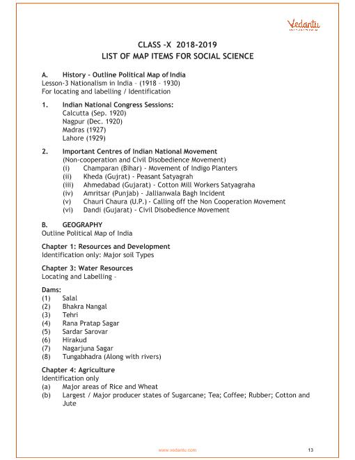 CBSE Syllabus for Class 10 Social Science 2018-2019 Board Exam