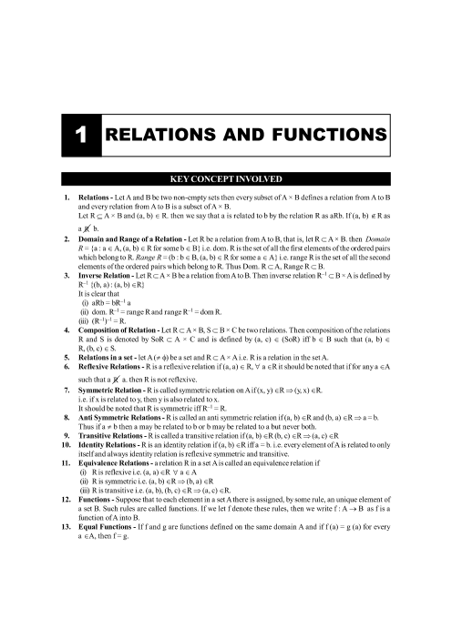 CBSE Class 12 Maths Chapter-1 Relations and Functions Formula