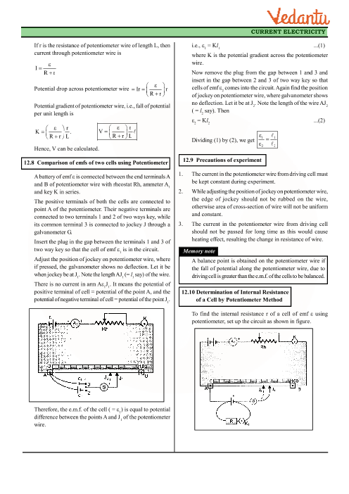 CBSE Class 12 Physics Revision Notes for Chapter 3 - Current