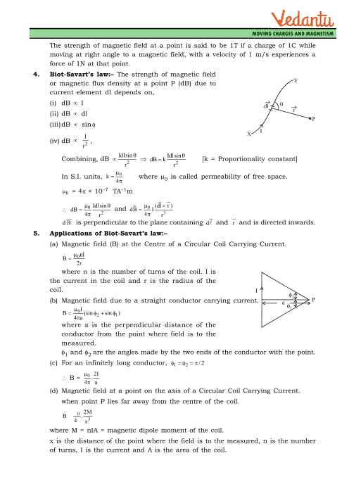 Class 12 Physics Revision Notes for Chapter 4 - Moving