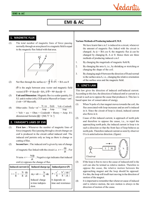 Class 12 Physics Revision Notes for Chapter 6 - Electromagnetic