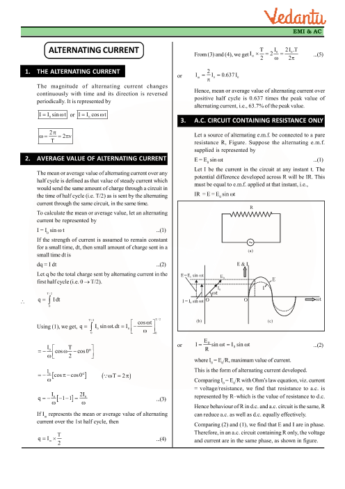 Class 12 Physics Revision Notes for Chapter 7 - Alternating Current