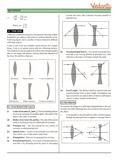 Class 12 Physics Revision Notes for Chapter 9 - Ray Optics