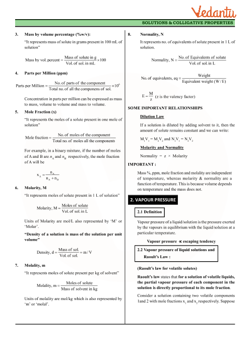 Class 12 Chemistry Revision Notes for Chapter 2 - Solutions