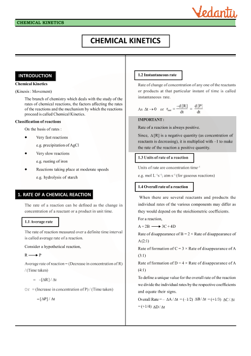 Class 12 Chemistry Revision Notes for Chapter 4 - Chemical Kinetics