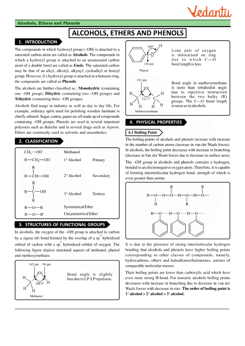 Class 12 Chemistry Revision Notes for Chapter 11 - Alcohols
