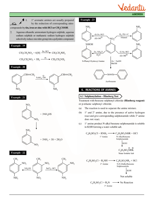 Class 12 Chemistry Revision Notes for Chapter 13 - Amines