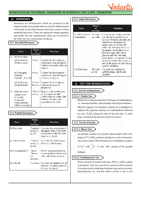 Class 12 Chemistry Revision Notes for Chapter 14 - Biomolecules