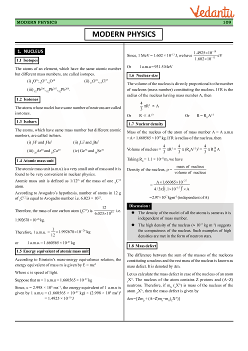 Class 12 Physics Revision Notes for Chapter 12 - Atoms