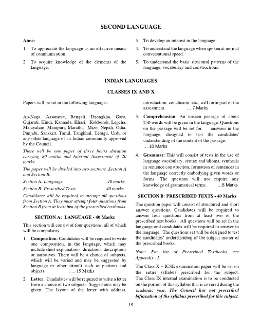 2.ICSE Class 10 Second Language-Indian Language Syllabus part-1