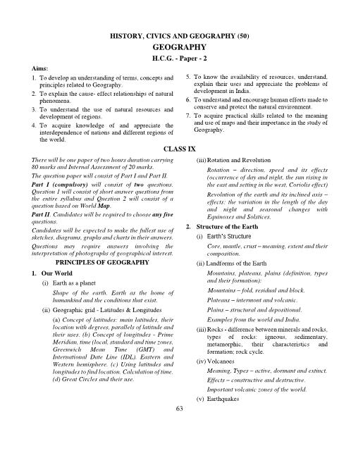 9.ICSE Class 10 Geography Syllabus part-1