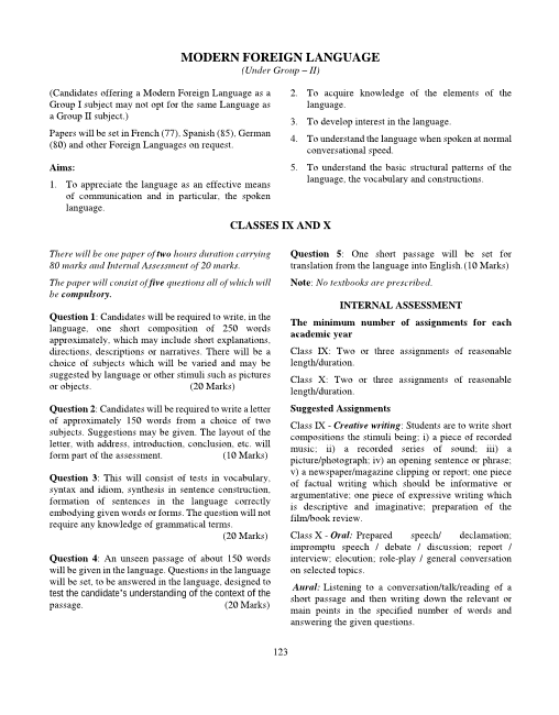 16.ICSE Class 10 Modern Foreign Language Syllabus Group-2 part-1