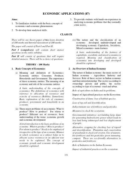 20.ICSE Class 10 Economic Applications Syllabus part-1