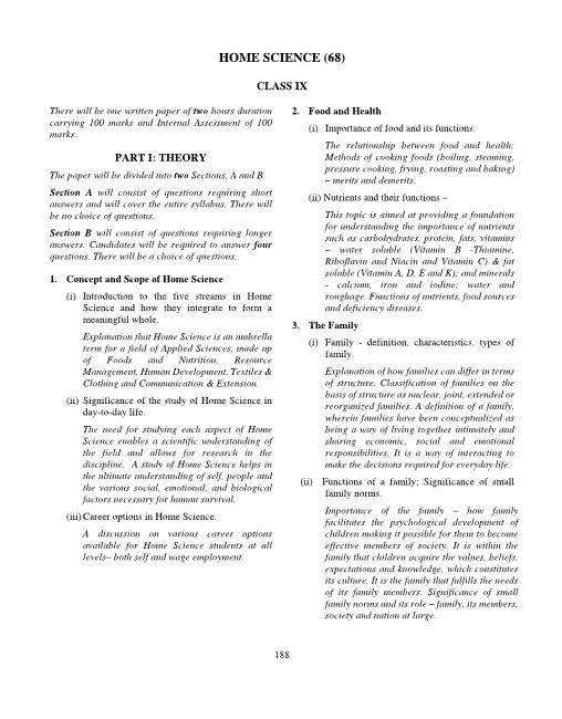 24.ICSE Class 10 Home Science Syllabus part-1