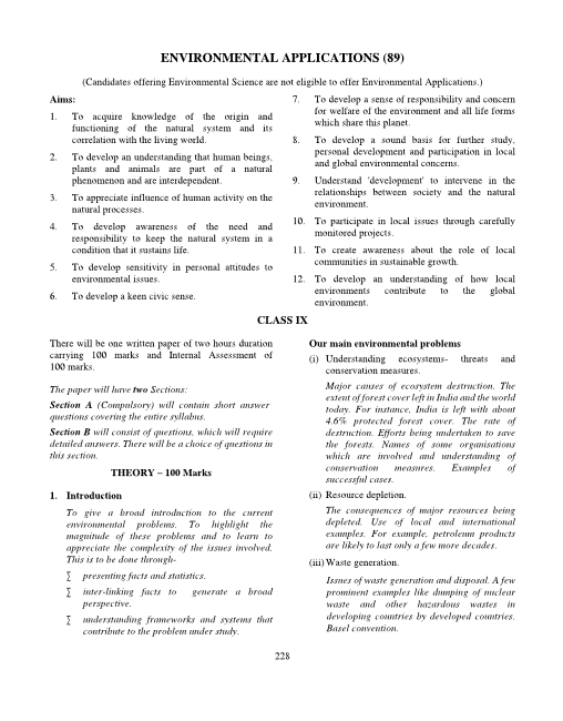 30.ICSE Class 10 Environmental Applications Syllabus part-1