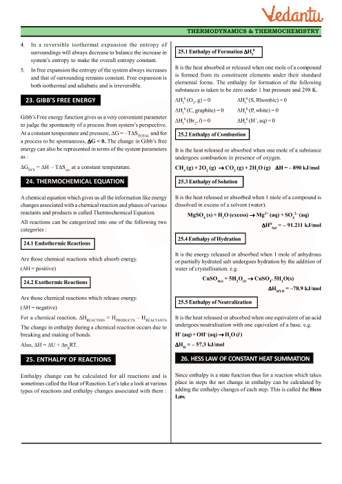 Class 11 Chemistry Revision Notes for Chapter 6 - Thermodynamics