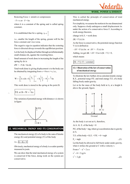 Class 11 Physics Revision Notes for Chapter 6 - Work, Energy and Power